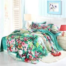 asian inspired bedding sea green red pink and white tropical flower print inspired cabin style cotton full queen size bedding sets asian inspired duvet sets