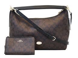 COACH Signature Large Brown Shoulder Crossbody Bag w Wallet E3096
