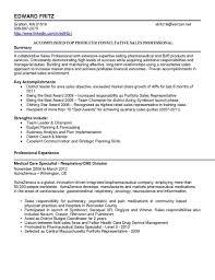 Sales Rep Sample Resume SampleResumesForOutsideSalesReppharmaceuticalsalesresumes 42