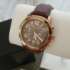 michael kors watch rose gold w leather strap m 5ad3cc52fcdc31b15b406352