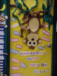 Kindergarten Classroom Theme Decorations Monkey Theme Classroom Our Door Welcome To Kindergarten No More
