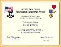 Scholarship Certificate Template Memorial Scholarship Certificate Template Marvie Co