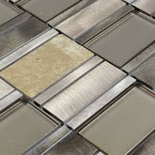 Metal Kitchen Wall Tiles Stone Glass Mosaic Tile Stainless Steel Metal Wall Tiles