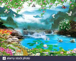 3d mural colorful landscape. flowers ...