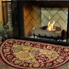 46 half round red kashan hearth rug