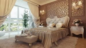 bedroom: Luxury Bedroom Idea With Appealing Brown Accents Wall Color Plus  Mixed With Golden Floral