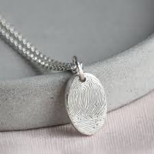 personalised fingerprint oval necklace