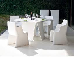contemporary domitalia stone round garden table in white optional chairs thumbnail