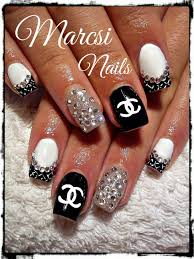 Cool Nail Designs With Black And White Channel Nail Art Design Black And White Nail Art With Stone