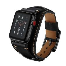 high quality leather buckle cuff for apple watch series 3 2 1 band 42mm black
