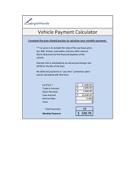 Auto Loan Calculator In Excel Vehicle Loan Calculator Microsoft Excel
