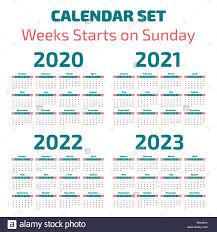 Calander Years Simple 2020 2023 Years Calendar Week Starts On Sunday Stock