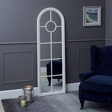fleur narrow arched framed mirror white