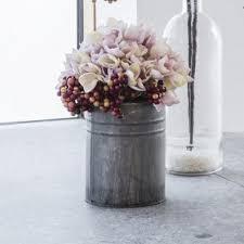 hydrangea centrepiece in metal vase