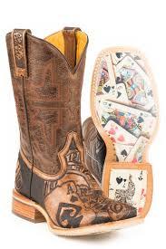 Tin Haul Mens The Gambler Card Shuffle Sole Cowboy Boots