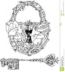 door lock and key black and white. Decorative Door Lock And Key. Graphic Illustration Handmade Art Illustrations. Stock - Of Floral, Key Black White