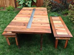 Table With Drink Trough Wood Picnic Table For Backyard Home Furniture And Decor