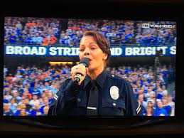 """Martin A. Baeza on Twitter: """"LAPD Officer Rosalind Curry singing the  National Anthem at Game 6 of the World Series!!! #LAPD #proud #standup  #GoDodgers… https://t.co/rKHZEeNXWV"""""""