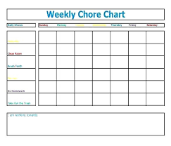 Chore Charts Template Weekly Chart For Adults Mrktr Co
