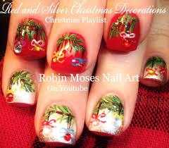 Easy Christmas Nails | Xmas Tree with Crystal Nail Art Design ...
