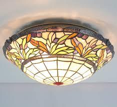 Glass Flush Mount Ceiling Light Etern 16 Inch European Retro Style Stained Glass Flush Mount
