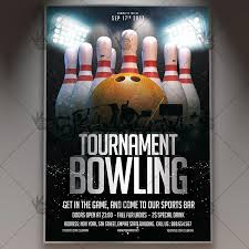 Bowling Event Flyer Template Bowling Tournament Premium Flyer Psd Template
