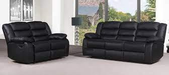 roman black recliners leather sofa set