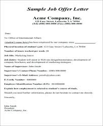 Sample Employment Offer Letter Template Offer Letter Template In Professional Job Format Naveshop Co