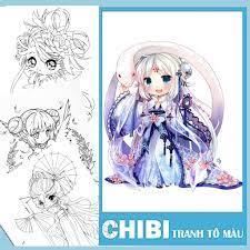 Tranh tô màu nước Anime CHIBI được chọn mẫu - Dành cho bạn trẻ đam mê, yêu  thích sáng tạo giá cạnh tranh