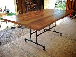 Rustic Wooden Kitchen Table Simple Rustic Farmhouse Kitchen Table With Metal Frame Design