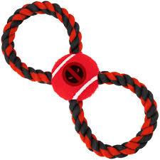 <b>Игрушка Buckle-Down Дэдпул</b> красный мячик на верёвке для собак