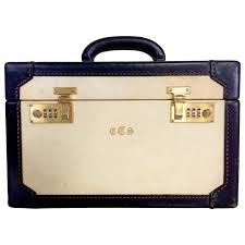 1950s italian vellum and leather train case for