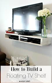 How to build a simple modern easy DIY Floating TV Shelf with storage  cubbies for DVD