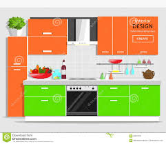 colorful furniture. Colorful Kitchen With Furniture. Flat Style And House Appliances. Stock Vector - Illustration Of Plate, Furniture: 69578157 Furniture T