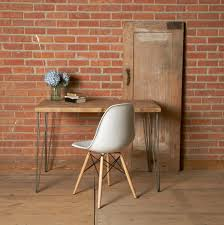 furniture white desk chair with wooden legs added by rectangle brown wooden desk on brown