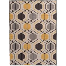 contemporary geometric stripe non slip non skid yellow area rug 8 ft