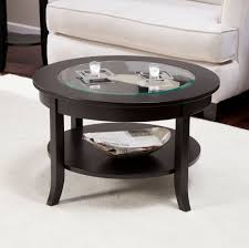 fine black small round coffee table with glass top for modern living room