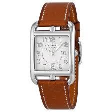 hermes watches jomashop hermes cape cod medium silver dial tan barenia leather ladies watch
