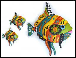 painted metal fish wall art haitian steel drum