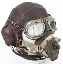 r a f leather flight helmet goggleask lot 556