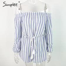 Online Shop Simplee <b>Sexy off shoulder</b> blue striped women ...
