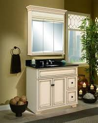 Impressive Antique White Bathroom Cabinets Vanity From Sunnywood With Simple Design
