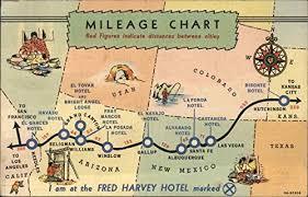 Amazon Com Mileage Chart Fred Harvey Hotels Maps Original