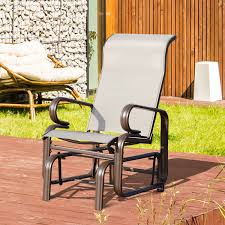 outsunny garden gliding chair porch furniture rocking aosom black and white glider small nursery patio table