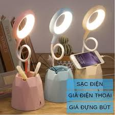 Đèn bàn LED tích điện có giá để điện thoại cổng sạc USB đèn học chống cận -  Đèn bàn