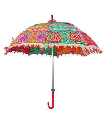... Folding Summer Rajasthani Umbrella Cotton Sequins Embroidered Work parasol  dcor ...
