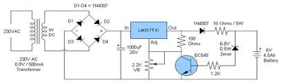 make a v ah automatic battery charger circuit out using a this is diagram a 6v 4 5 ah battery charger circuit which is able to charge 6v 4 5 ah lead acid batteries the schematic is very simple and using only few