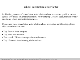 Sample Cover Letter For In A School School Accountant Cover Letter