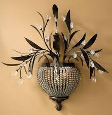 appealing decorative wall sconces beautiful and unique design of flower pots and pearl combination leaves