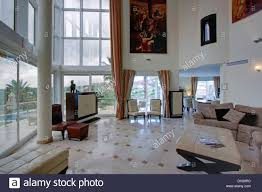 Large Living Room Paintings Large Painting On Wall Of Double Height Spanish Living Room With